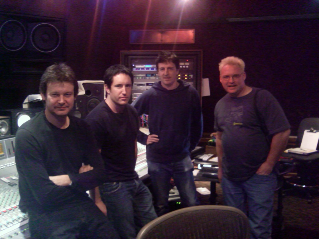 """Alan Moulder, Trent Reznor, Atticus Ross, and Soundtoys' Mitch Thomas at Chalice Recording Studios in Los Angeles during """"With Teeth""""."""
